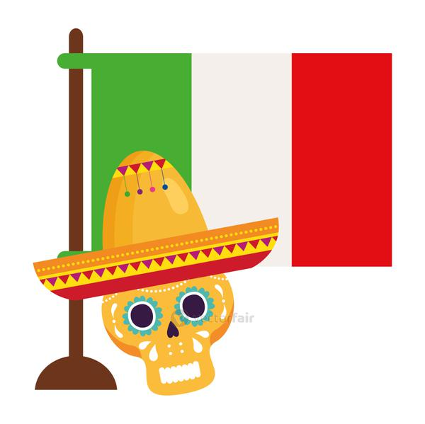 flag mexican and yellow skull with hat, on white background