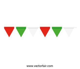 garlands hanging of green, white and red color