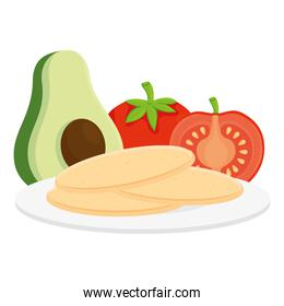fresh food, avocado with tomatoes and tortillas in white background
