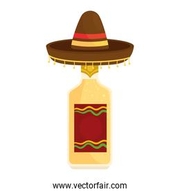 mexican hat with bottle of tequila in white background