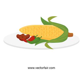 ripe corn cob with beans and chili peppers, in white background