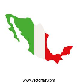 mexico map flag on white background