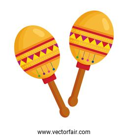 maracas mexican instrument musical on white background