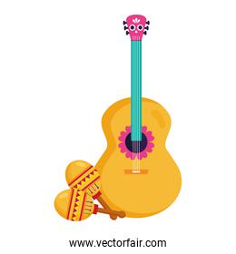 mexican guitar and maracas, on white background