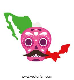 mexico map flag with pink mexican skull, on white background