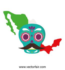 mexico map flag with mexican skull, in white background