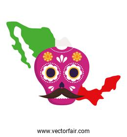 mexico map flag with pink mexican skull, in white background