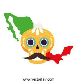 mexico map flag with yellow mexican skull, on white background