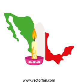 mexico map flag with candle on white background