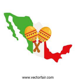 mexico map flag with maracas on white background
