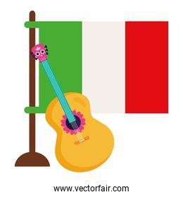flag mexico with guitar on white background
