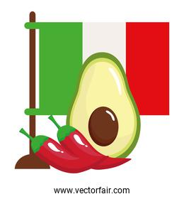 flag of mexico with avocado and chili peppers in white background