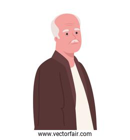 cute old man on white background