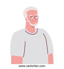 old man with eyeglasses in white background