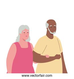 cute old couple holding hands, on white background