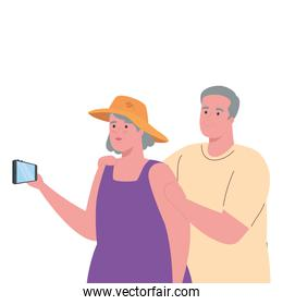 cute old couple taking a selfie with smartphone isolated icon