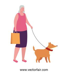 old woman with bag shopping, walking with dog mascot in white background