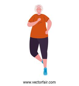 old woman running, sport recreation concept