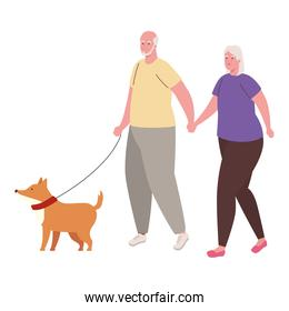 cute old couple walking with dog mascot