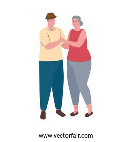 cute old couple dancing on white background