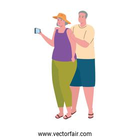 old couple taking a selfie with smartphone