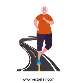 old woman running in the road, sport recreation concept