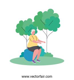 old woman practicing exercise with ball plastic outdoor, sport exercise concept