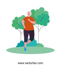 old woman running in the park, sport recreation concept