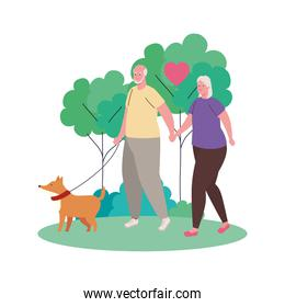 cute old couple walking with dog mascot outdoor