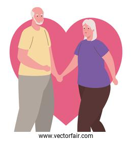 cute old couple with heart on background