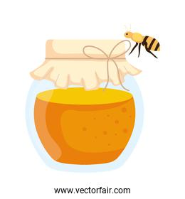 honey jar with bee flying, in white background