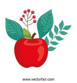 apple red fruit with leaves on white background