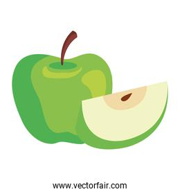 whole apple green with slice on white background