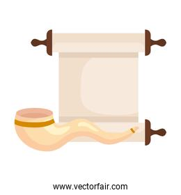 papyrus scroll with shofar horn, on white background