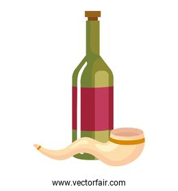 bottle of wine with shofar horn, in white background