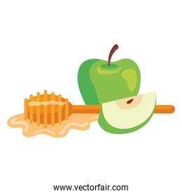 honey dipper stick with apples, on white background