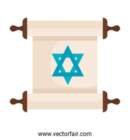 star of David in papyrus scroll on white background