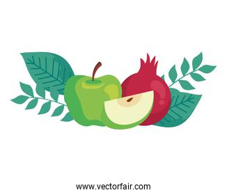 apple green with pomegranate on white background