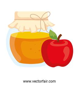honey jar with apple, in white background