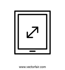 tablet device tech with arrow line style icon