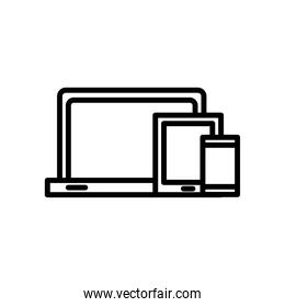 laptop computer portable and devices line style icon