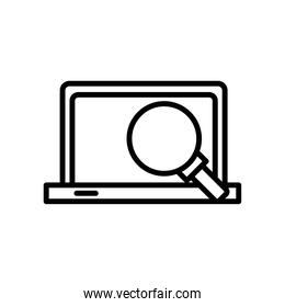 laptop computer portable with magnifying glass line style icon