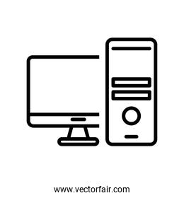 desktop computer monitor and tower line style icon
