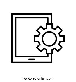 tablet device tech with gear line style icon