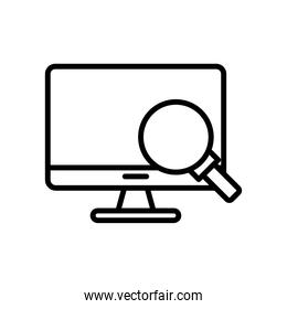 desktop computer monitor with magnifying glass line style icon