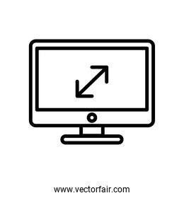 desktop computer monitor with arrows line style icon