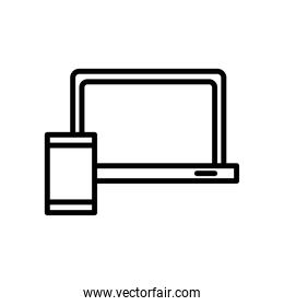 laptop computer portable with smartphone line style icon