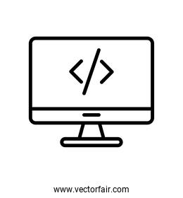 desktop computer monitor with code line style icon