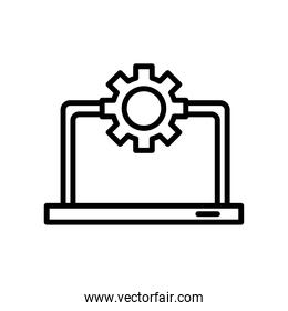 laptop computer portable with gear line style icon
