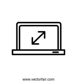 laptop computer portable with arrows line style icon